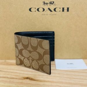 ⚜COACH Id Billfold Wallet In Signature Canvas